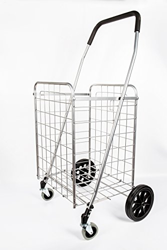 PrimeTrendz PT5614 Grocery Laundry Utility Shopping Cart | Heavy Duty, Light Weight Trolley with Rolling Swivel Wheels | Portable and Easily Collapsible to Save Space | Color: Silver