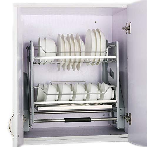 2 Tier Dish Rack, Steel Dish Drainer, Geschirrtrocknerregale Mit Herausnehmbarer Auffangschale Für Küchenschrankhalterung, Mechanisches Wipppuffersystem, Grau,W 56cm