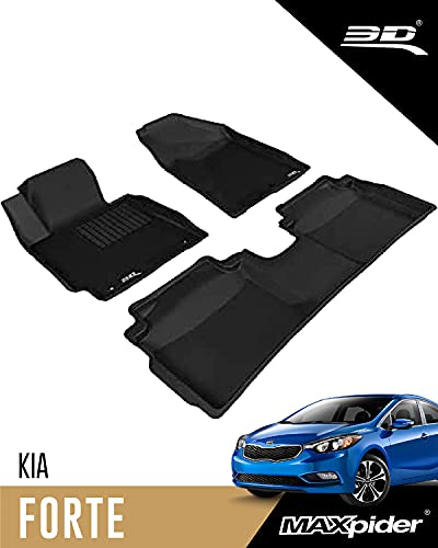 3D MAXpider L1KA01701509 Complete Set Custom Fit All-Weather Floor Mat for Select Kia Forte Models - Kagu Rubber (Black)