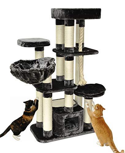 nanook Kratzbaum Memphis XXL - Hochwertiger 600 gr. Plüsch - für schwere große Katzen - 158 x 85 x 49 cm - grau - 51 kg