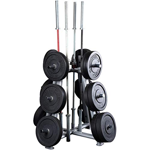 Body-Solid SWT1000 Pro Clubline Olympic Weight and Bar Holder, Storage for Home and Commerical Gym