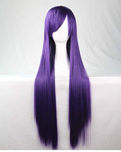 Parrucca per donne e ragazze, capelli lunghi e lisci, 80 cm, bellissima, sexy, per cosplay, festival, feste in costume, carnevale e tutti i giorni, colore: viola scuro