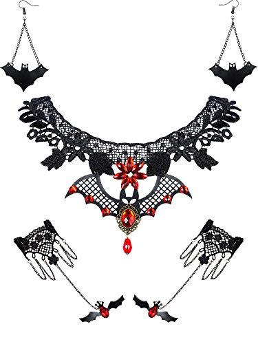 5 Stück Halloween Schwarze Spitze Choker Halskette und Vampire Style Ohrringe und Steampunk Spitze...