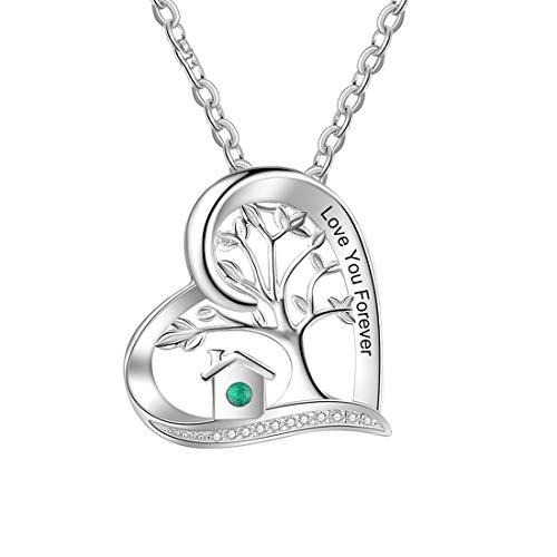 Collar De Plata 925 Con Corazón De Madre Con Nombre Grabado En Piedra Collar Con Colgante De Amor De Mamá Collar De Compromiso De Cumpleaños Para El Día De La Madre Para Mujer(Plata 18')