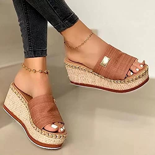Verano señoras Zapatillas de cuña Suela Gruesa Suave y cómodo 2021 Zapatos Casuales Sandalias de Playa al Aire Libre Zapatillas de Mujer marrón