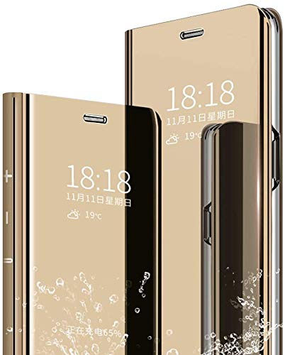 Keteen Funda para Huawei P9 Lite Cáscara, Espejo De Cristal Translúcido Estuche De Cuero, [360°Todo Incluido Protection] Volteo Vertical Anticaída Delgada Case, Cover para Huawei P9 Lite, Dorado