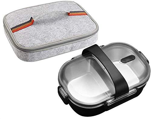 Pkfinrd Lunch Box304 roestvrij staal Bento doos met compartimenten kinderen school witte kraag voedsel container lekvrij voedsel doos B zwarte tas Cup Set