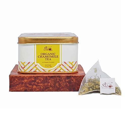 The Indian Chai - Organic Chamomile Tea 15 Pyramid Tea Bags   Certified Organic - Detox Tea - Calming Tisane - Herbal Tea - Caffeine Free - Whole Flowers  