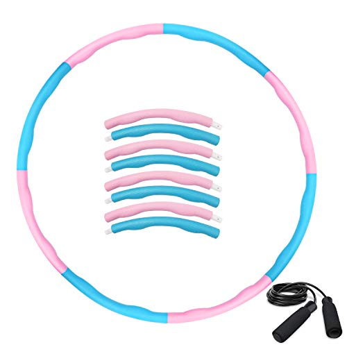 HAIGOU Hula Hoop Reifen zur Gewichtsreduktion,Reifen mit Schaumstoff ca 1 kg,Gewichten Einstellbar Durchmesser 75-95 cm mit Seilspringen…