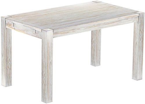 Brasilmöbel Esstisch Rio Kanto 140x80 cm Shabby Brasil Pinie Massivholz Größe und Farbe wählbar Esszimmertisch Küchentisch Holztisch Echtholz vorgerichtet für Ansteckplatten Tisch ausziehbar