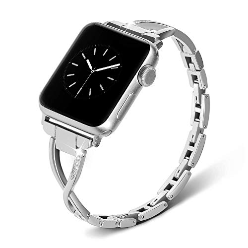 38mm 40mm Vogue Jewelry Watch Strap for IWatch Series 6,5,4,3,2,1 Women Adjustable Crystal Diamond Bracelet Replacement iwatch Stainless Steel Bands