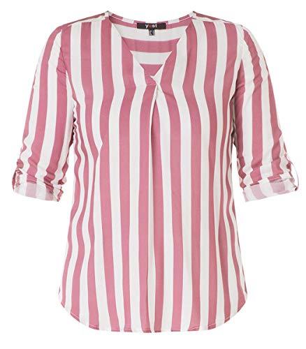 Yesta Damen Bluse Tunika Shirt Kurzarm Altrosa Weiß gestreift große Größen aus Viskose, Größe:52