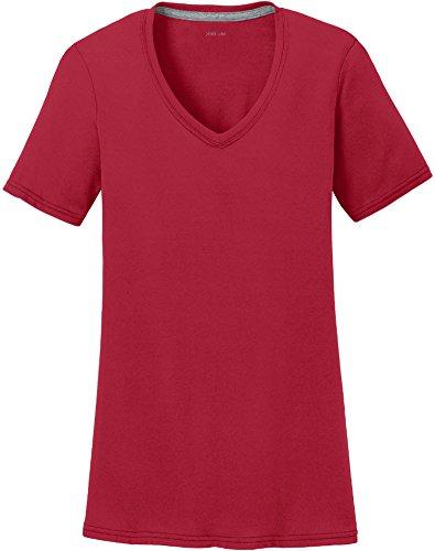 Joe's USA Ladies Absorbe la Humedad Rendimiento V-Neck T-Shirts en tamaños XS-4X L - Rojo -