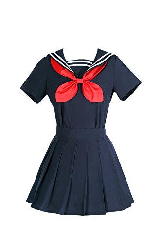 NSPSTT Damen Japanisch Kurzarm Schuluniform Sailor Uniform Cosplay Kostüm, Blau, 46