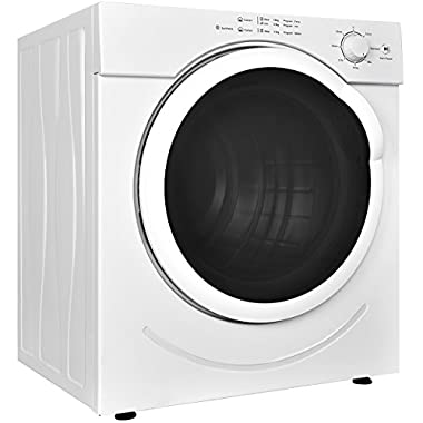 Costway Electric Tumble Dryer Compact Stainless Steel Clothes Laundry Dryer with Timer Control (3.21 Cu.Ft.)