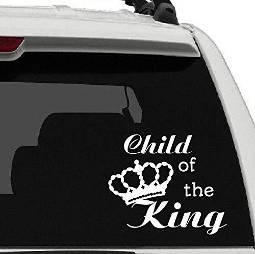 43LenaJon Adhesivo de vinilo para ventana de coche, diseño de niño del rey, con corona de fe, cristiano, Jesús cree, esperanza, amor, coche, impermeable, con adhesivo