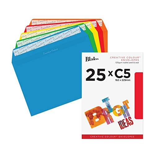Creative Colour 45123 enveloppen met zelfklevende kleefstrip kleurrijk geselecteerd C5 162 x 229 mm - 120g/m2 | 25 stuks