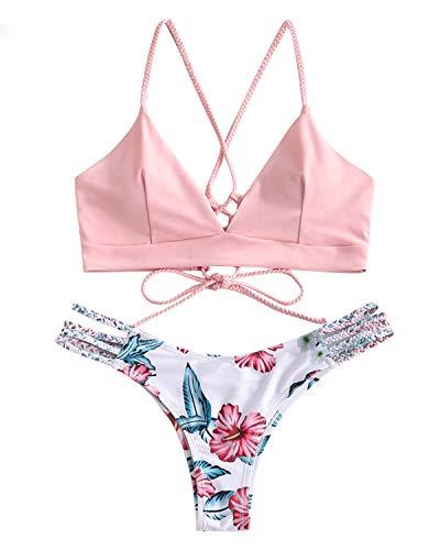 ZAFUL Damen Gepolsterter Bikini Set Bademode Badeanzug mit Blumenmuster Schnürung Zweiteilig RosaMedium