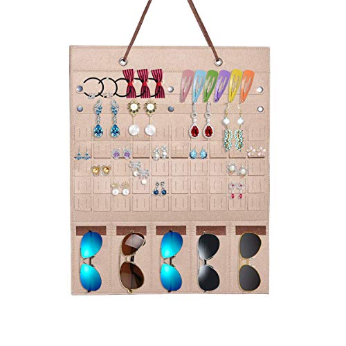 XunHe Hanging Jewelry Display Organizer, 40 * 50 cm Felt Foldable Storage Rack Wall Hanging Bag Multi-Functional Holder for Jewelry Earrings Rings Necklaces Sunglasses (Camel+Brown)