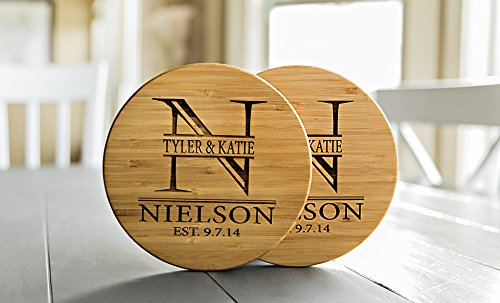 Personalized Coasters Trivets for Hot Dishes - 7inch Kitchen Wood Trivet, Personalized Wedding Gifts (Nielson Design, Set of 2)