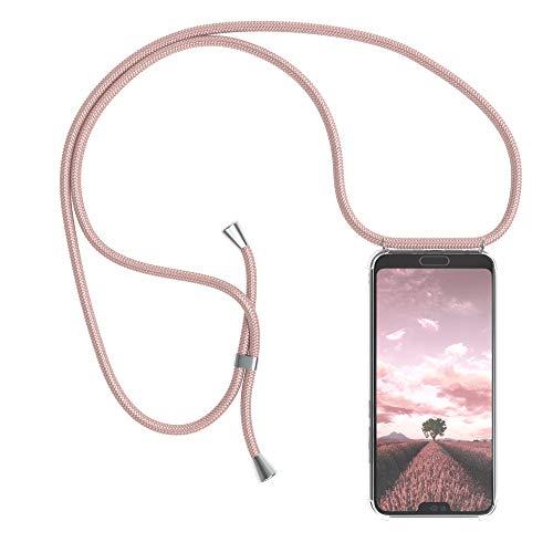 EAZY CASE Handykette kompatibel mit Honor 10 Handyhülle mit Umhängeband, Handykordel mit Schutzhülle, Silikonhülle, Hülle mit Band, Stylische Kette mit Hülle für Smartphone, Rosé-Gold