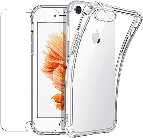 New&Teck Coque Compactible avec iPhone 6/6S + [Verre Trempé Protection écran], Housse Etui en Transparent Silicone TPU Souple [Bumper avec Coins Renforcés], Protection Claire.