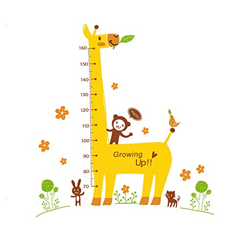 Winhappyhome Giraffe Children's Height Measurement Chart Pépinière Stickers Muraux pour Kids Room Decoration Amovible Art Décalcomanies