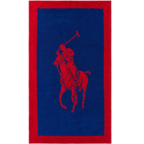 Ralph Lauren Badetuch Polo Jacquard, red-Navy