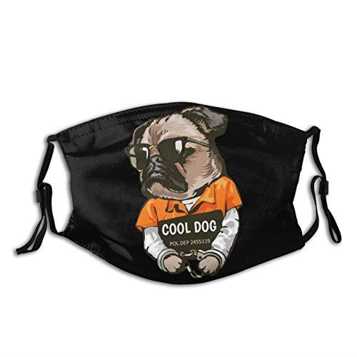 Universal Waschbares Tuch Outdoor Sport Mund Ärmel Druck Cartoon Mops Hund im Gefangenen Kostüm mit Schild Muster mit 5 Schichten Austauschbaren Aktivkohlefilter