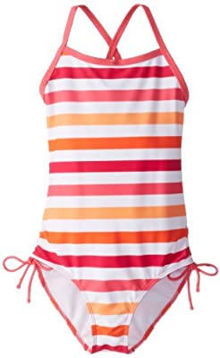 Kanu Surf Girls' Big Bali Beach Sport Banded 1 Piece Swimsuit, Sassy Pink Stripe, 7