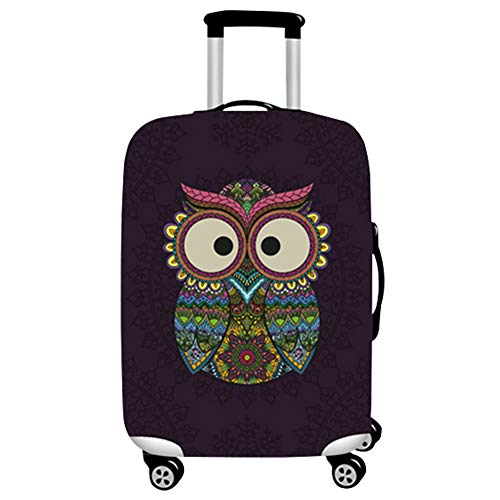 Haodasi Durable Washable Suitcase Cover Protector (Suitcase Excluded) Owl Black Pattern Luggage Cover Size M Fit 21-24 Inch