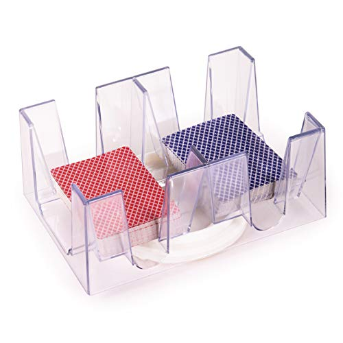 Silly Goose Games 6 Deck Revolving - Rotating Canasta Playing Card Holders for Playing Cards - Clear Plastic Card Holders for Playing Cards - Card Tray