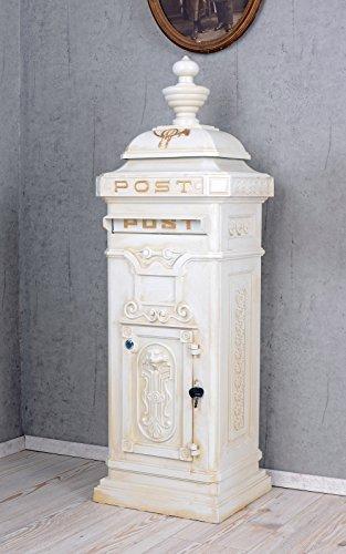 Historischer Standbriefkasten, Briefkasten, Briefbehälter, Kasten im Stil der Gründerzeit in Weiß - Palazzo Exclusive