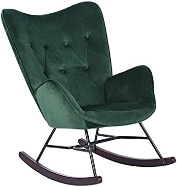 Housebox Armchair, Soft Velvet Upholstered Modern Rocking Chair with Solid Wood Legs, Heritage Green
