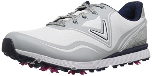 Callaway Women's Halo Golf Shoe, White/Navy, 6.5 B US