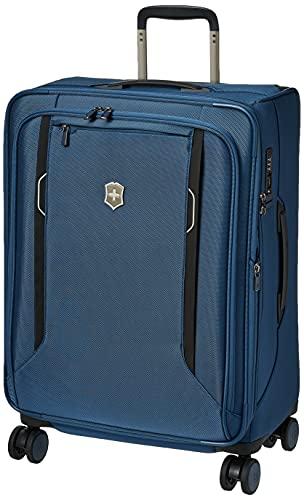 Victorinox WT 6.0 Softside Spinner Luggage, Blue, Checked-Medium (24')