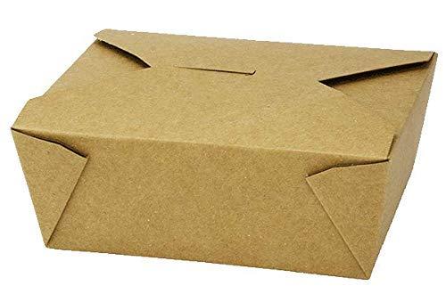Contenitori usa e getta di carta Kraft To Go - Contenitori per alimenti biodegradabili, caldi e freddi, estraibili - Design a prova di perdite per Lunch On the Go, 155 x 120 x 65 mm, confezione da 25