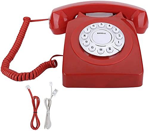 Teléfono Retro, Línea De Una Sola Línea Teléfono Clásico Teléfono Clásico Teléfono Teléfono Fijo Teléfono De Línea De Alta Definición Call Gran Botón Borre (Bronce Antiguo),Bright Red