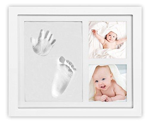 Danielstore Cadre photo pour b/éb/é avec empreinte de main et pied 3D en bois avec moule en pl/âtre Blanc 16 X 21