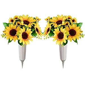 Cemetary vases with Memorial Flowers-Sunflowers Artificial Flowers, Gravestone Decorations for Cemetery, Beautiful Arrangements for Headstones (2)