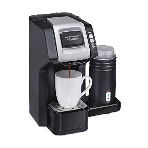 Hamilton Beach FlexBrew Single-Serve Coffee Maker with Milk Frother Compatible with K-Cup Pods and Grounds, Black (49949)