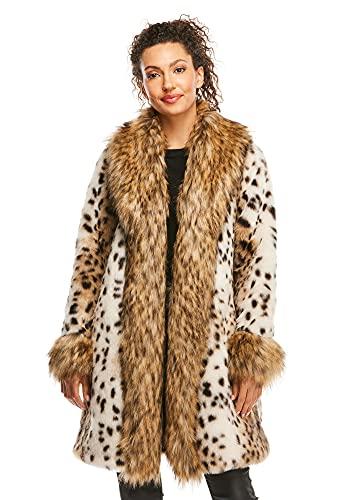 Leopard Faux Fur City Chic Tuxedo Coat (3X) (Leopard)