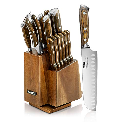 Knife Sets, 15-Piece German Steel Knife Block Sets with...