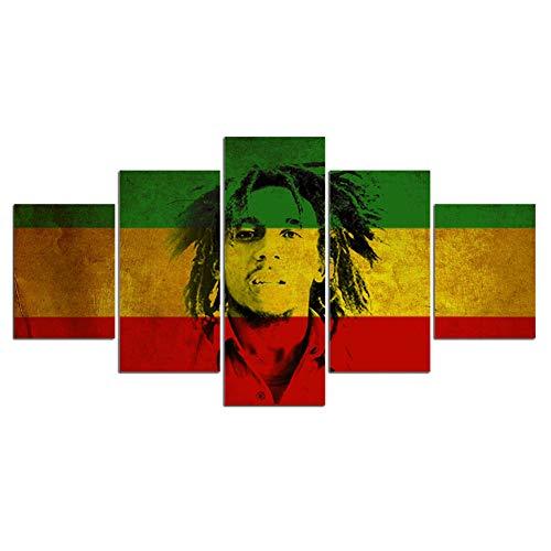 5 paneles Sobre lienzo la Imagen bob Marley Pintura Póster Cuadros Enmarcados listos para Colgar para la Decoración de la pared del Hogar Ilustraciones Dormitorio Decoración,B,20x30x220x40x220x50x1