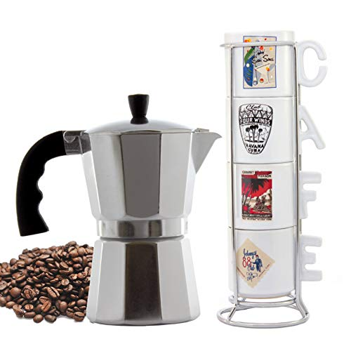 Imusa Cuban Espresso Coffee Maker 6-cup - Bundle with a Set of White Espresso Cups 3.5 Ounces and Metal Rack (Famous Clubs)