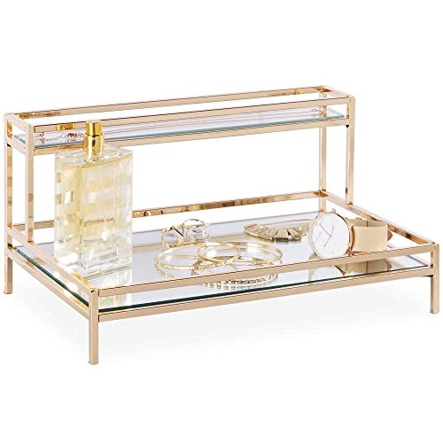Beautify Mirrored Vanity Tray for Dresser Jewelry and Perfume Tray - Two Tier Trays with Champagne Gold Finish L12 x D7.8 x H5.9 inches