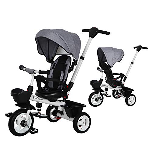 BOOWAY Baby Trike, 6-in-1 Kids Stroller Tricycle with Adjustable Push Handle, Removable Canopy, Safety Harness for 6 Months - 5 Year Old