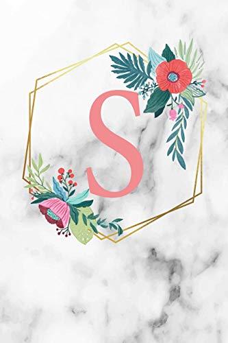 S: Monogramm Buchstabe S 120 Seiten DIN A5 Notizbuch Marmor Gold Weiß personalisiert Name farbige Blumen Initial Tagebuch für Frauen und Mädchen