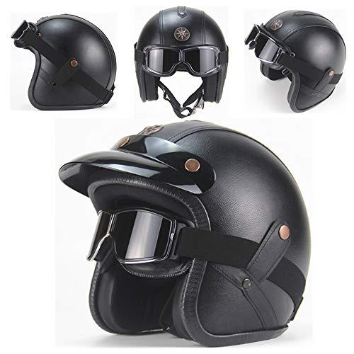 AA100 Casco Harley Davidson, Casco Harley Motocicleta Personalidad Casco Retro Medio Incorporado Gafas Dot Aprobado Unisex Cuatro Estaciones Universal (M, L, XL,),1,XL