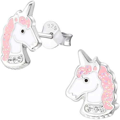 JAYARE Pendientes infantiles de unicornio de plata de ley 925 con cristales brillantes de 11 mm, color rosa y blanco